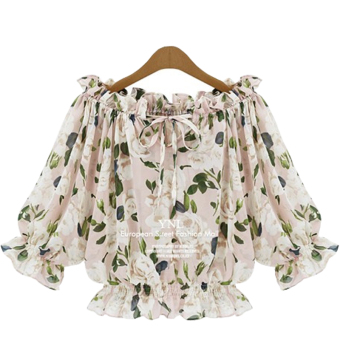 Loose short-sleeved female summer shirt Top chiffon shirt (Pink)
