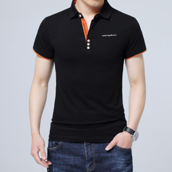 Loose short sleeved men Plus-sized Short sleeve T-shirt ([02 models] Black)