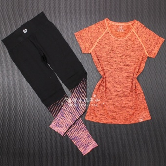 Loose short sleeved yoga fitness two piece suit T-shirt quick drying clothes (Orange pants + orange T-shirt) (Orange pants + orange T-shirt)