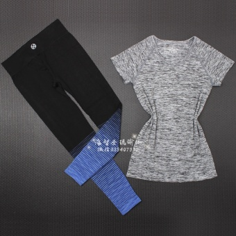 Loose short sleeved yoga fitness two piece suit T-shirt quick drying clothes (Sapphire Blue pants + gray T-shirt) (Sapphire Blue pants + gray T-shirt)