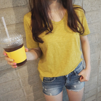 Loose simple bamboo cotton short-sleeved summer bottoming shirt T-shirt (Yellow)