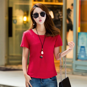 Loose simple cotton new Plus-sized Korean-style short sleeved t-shirt Short sleeve Top (Red) (Red)