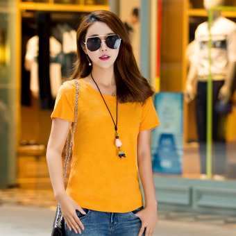 Loose simple cotton new Plus-sized Korean-style short sleeved t-shirt Short sleeve Top (Yellow) (Yellow)