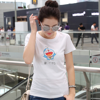 Loose simple cotton Print short-sleeved Top Korean-style female T-shirt