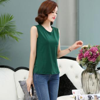 Loose simple cotton short sleeved female T-shirt sleeveless bottoming shirt (Dark green color) (Dark green color)
