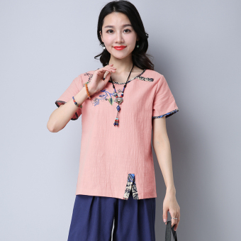 Loose stitching embroidered female slimming Top T-shirt (Pink) (Pink)