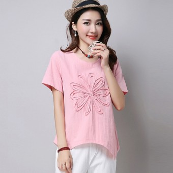Loose stitching Linen Plus-sized round neck Top T-shirt (Pink color)