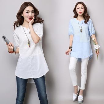 Loose stitching linen Plus-sized thread empty T-shirt Linen Top (White)