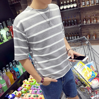Loose summer men's short sleeved t-shirt (Gray (three-quarter-length sleeve)) (Gray (three-quarter-length sleeve))