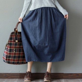 Loose versatile cotton linen solid color pleated bud skirt dress (Deep dark blue) (Deep dark blue)
