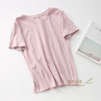 Loose wild bamboo cotton solid color female bottoming shirt T-shirt (Pink color)
