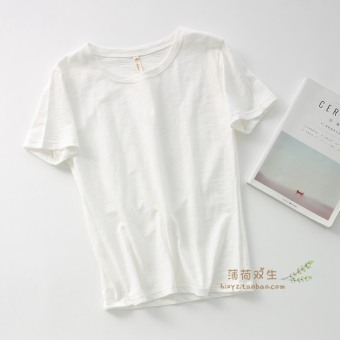 Loose wild bamboo cotton solid color female bottoming shirt T-shirt (White)