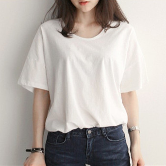 Loose wild female round neck bottoming shirt Korean-style short-sleeved t-shirt