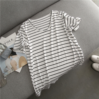 Loose wild modal solid color female Top T-shirt (White striped)