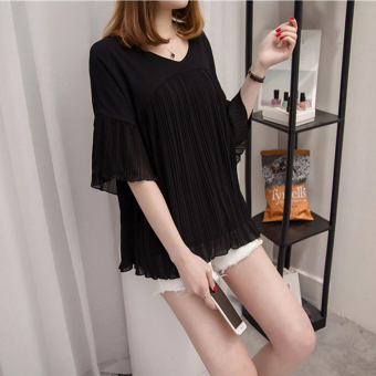Loose wild Slimming effect short-sleeved chiffon shirt T-shirt (Black)