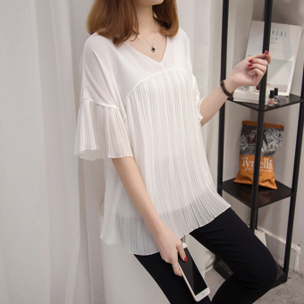 Loose wild Slimming effect short-sleeved chiffon shirt T-shirt (White)