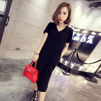 Loose wild summer v-neck short-sleeved cotton solid color T-shirt (Black)