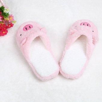 Lovely Pig Home Floor Soft Stripe Slippers Female Shoes - intl - 5