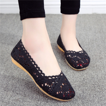 LR breathable mesh female flat surface shoes mesh shoes (Black)