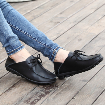 LR Korean-style soft leather female flat with mother shoes leather shoes (Black)