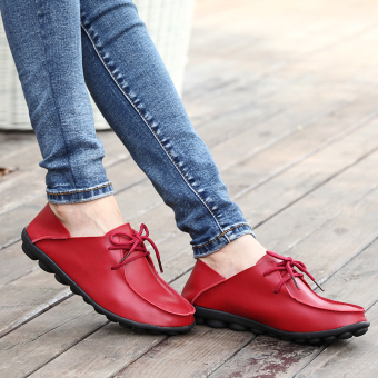 LR Korean-style soft leather female flat with mother shoes leather shoes (Red)
