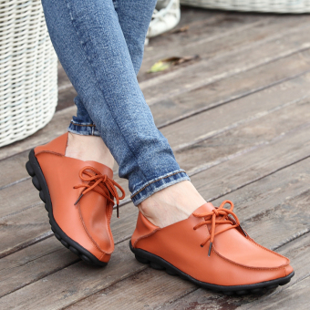 LR Korean-style soft leather female flat with mother shoes leather shoes (TIPS: Standard Code foot fat of the shoot large one yards)