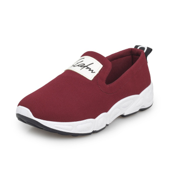 LR Old Beijing canvas flat student casual shoes New style casual shoes (Wine red)