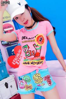 Lu Yo Korean-style cotton Slim fit Slimming effect T-shirt compassionate shirt