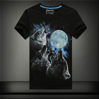 Luminous 3D European and American cotton black men's Slim fit round neck t-shirt T-shirt