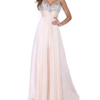 Luxury Long Sequins Evening Dress Pink Deep V Neck Chiffon Backless Evening Gowns Sleeveless Prom Party Formal Dresses - intl