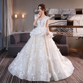 Luxury V-neck wedding veil dress (Champagne V-neck Qi to models)