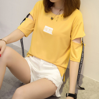 Lvka Women's Loose Letter-print Ripped Half Sleeve T-Shirt Color Varies (613 * Yellow)