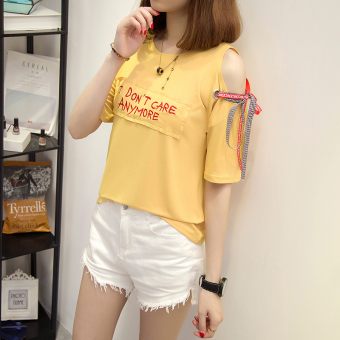 Lvka Women's Loose Letter-print Ripped Half Sleeve T-Shirt Color Varies (616 * Yellow)