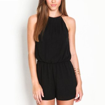 Makiyo Balck Women Sleeveless Jumpsuits Rompers(Black) - intl Price Philippines