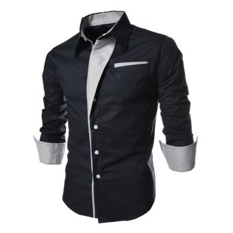 Makiyo Fashion Men Casual Style Long-Sleeve Stripes Assorted Colors Style Slim Shirt(Navy blue) - intl Price Philippines