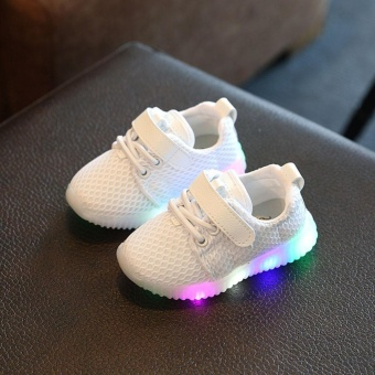 Makiyo Kids Boys Girls Shoes LED Light Up Luminous Children Trainers Sport Sneakers ( White ) - intl Price Philippines