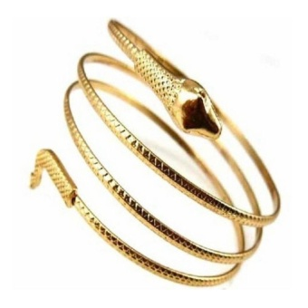 Makiyo Women Fashion Coiled Snake Spiral Upper Arm Cuff BangleBracelet ( Gold ) - intl Price Philippines