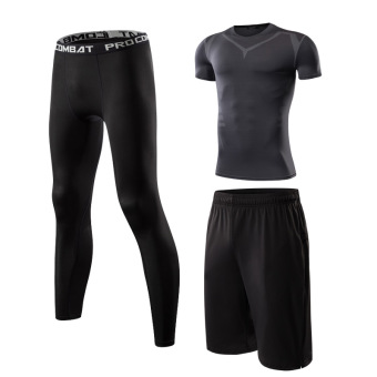 Male quick-drying breathable short sleeved fitness clothes slim fit clothing (1608 short sleeved + 127 + black pants)