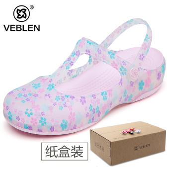 Malizhen beach student thick bottomed jelly slippers porous shoes (Women's + 6602 bubble sugar)