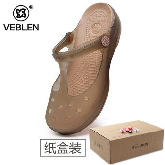 Malizhen slip jelly New style cute slippers porous shoes (Women's + 6601 tea gold)