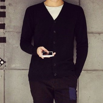 Man Cardigan Good Qualit Knitwear Solid Color Autumn Spring Winter Knit Single Breasted Buttons Slim Long Sleeve Fashion Men Sweater(Black) - 2