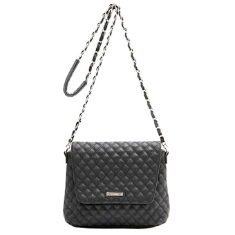 Mango Quilted Chain Leather Sling Bag Cross body Handbag - Black - intl