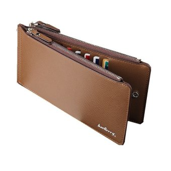 Man's Wallet Pu Credit Card Purse Zipper Long Bag YMWTC08-16-2(Brown)