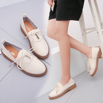 Mary Jane British female autumn New style shoes retro small shoes (Beige [comfortable breathable])