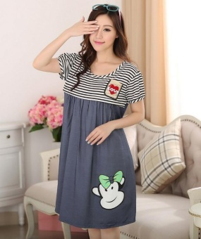 Maternity Clothing Casual Women Clothes Striped Maternity DressNursing Dress Long-Sleeve Pregnant Women Breastfeeding Dress - intl - 2