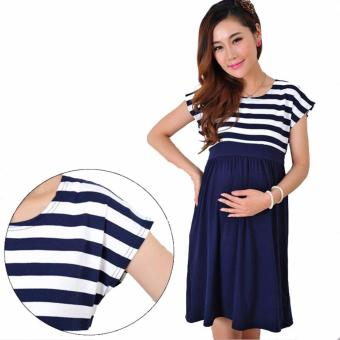 Maternity Dress Casual Stripe Maternity Clothes Women Pregnant Dresses Mother Clothings Blue - intl