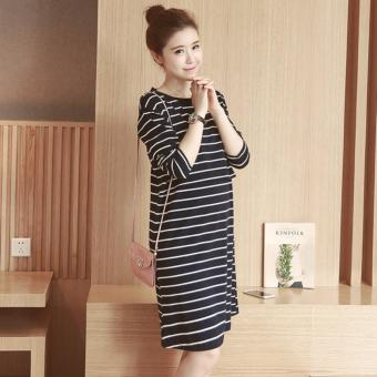 Maternity Dress Striped Long Sleeve Nursing Dress Pregnant Clothes- intl