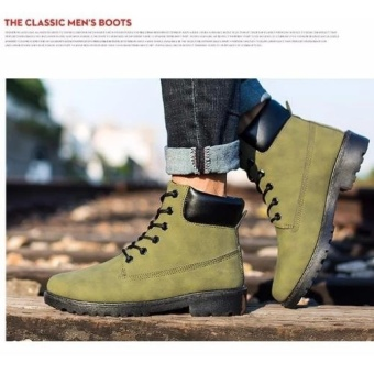 Max Collection Fashion Genuine Leather Dr Martin Boots Warm FurHigh Top Casual Martin Shoes Men Boots Ankle Motorcycle BootsLelaki Boots Buku Lali (Green) - intl - 4