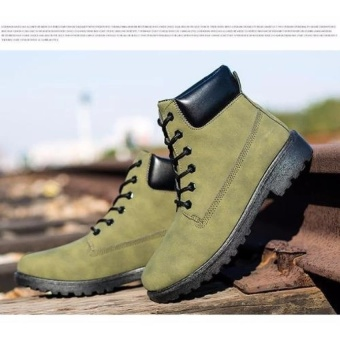 Max Collection Fashion Genuine Leather Dr Martin Boots Warm FurHigh Top Casual Martin Shoes Men Boots Ankle Motorcycle BootsLelaki Boots Buku Lali (Green) - intl - 2