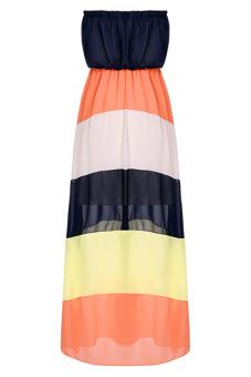 Maxi Beach Dress (Black/Orange/White)